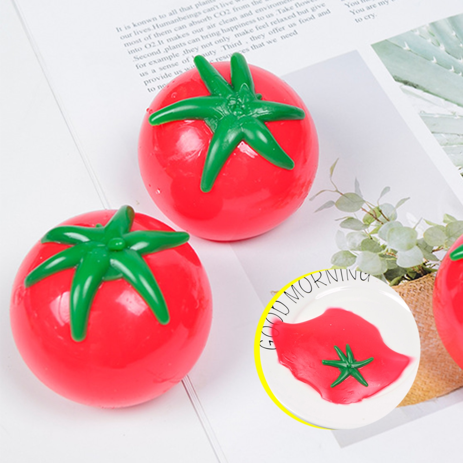 9Pcs Tomato Squishies Balls Kids Toys Autism Squeeze Stress Relief Fidget Toy Antistress Prank Props Water Ball Kids Gift enlarge