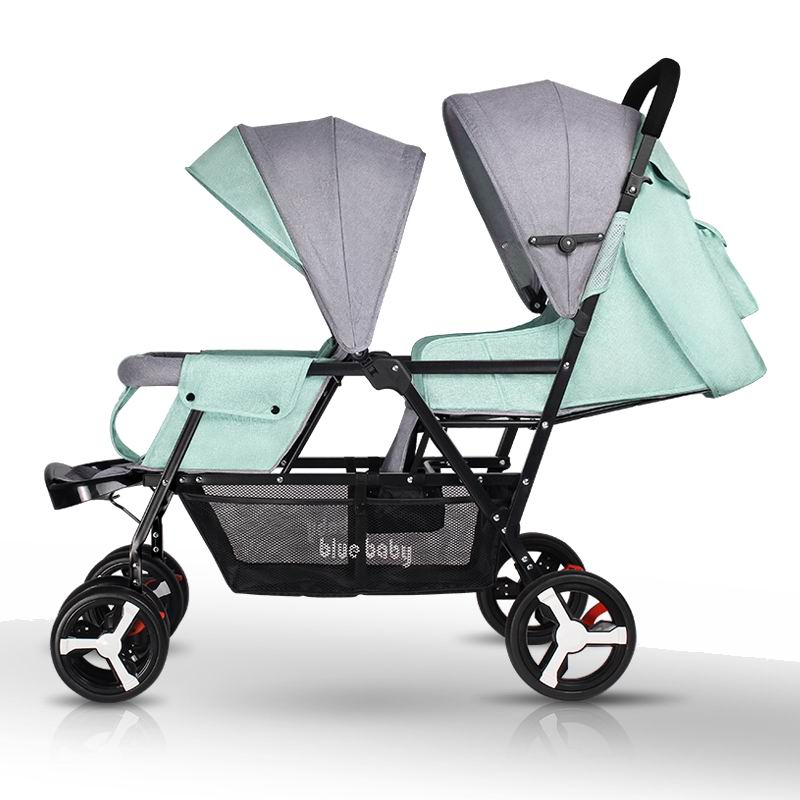 Twin baby stroller light foldable sits and lays baby pram double seats baby pushchair Baby carriage easy control