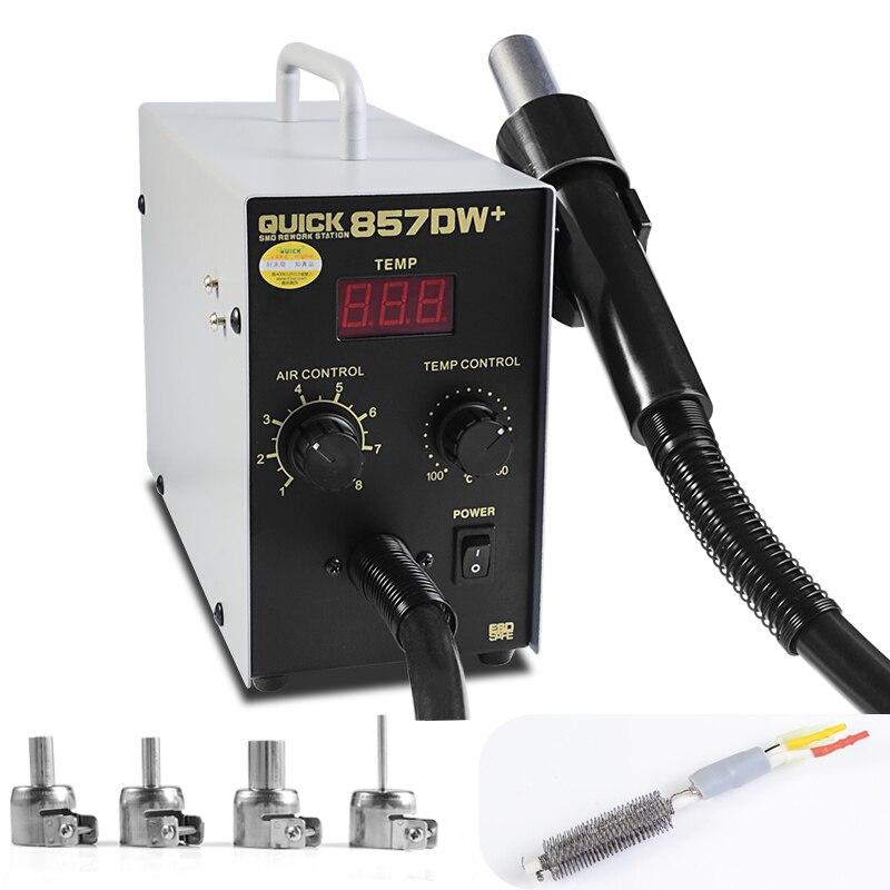 Quick 857DW + Estación de soldadura 580W Estación de pistola de aire caliente ajustable con calentador helicoidal pistola de aire SMD Estación de Reparación caliente