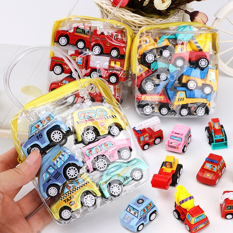 Children's Return Truck Fire Truck Engineering Vehicle Set Mini Car Model Little Boy's Car Excavator Toy Hands And Brains