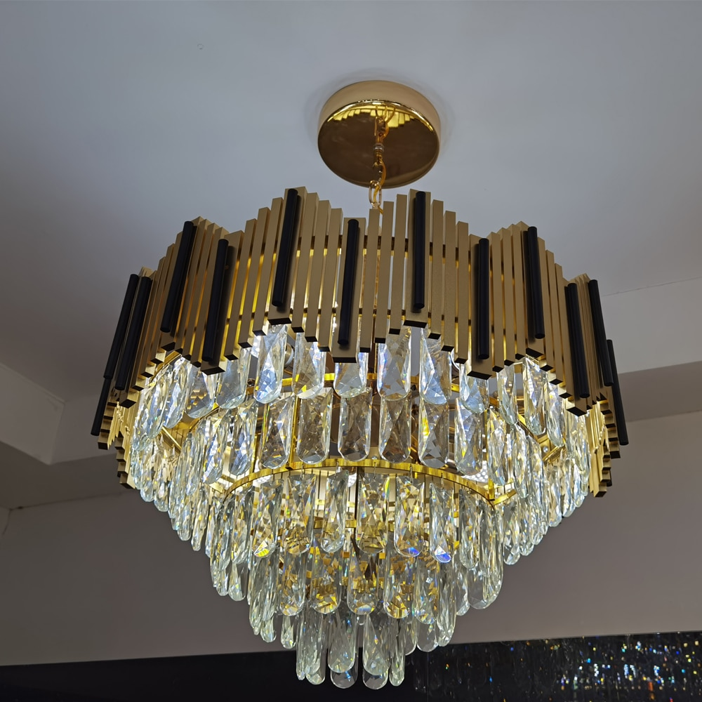 موجز الحديثة تركيبة إضاءة الكريستال قلادة فاخرة بأسعار معقولة لغرفة الطعام الثريات موجزة