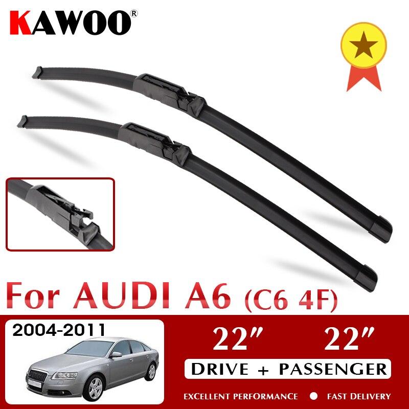 "KAWOO Limpador Dianteiro Wiper Blades Para Audi A6 C6 4F S6 RS6 2004 2005 2006 2007 2008 2009 2010 2011 Frente Windshield 22 ""+ 22"" LHD"