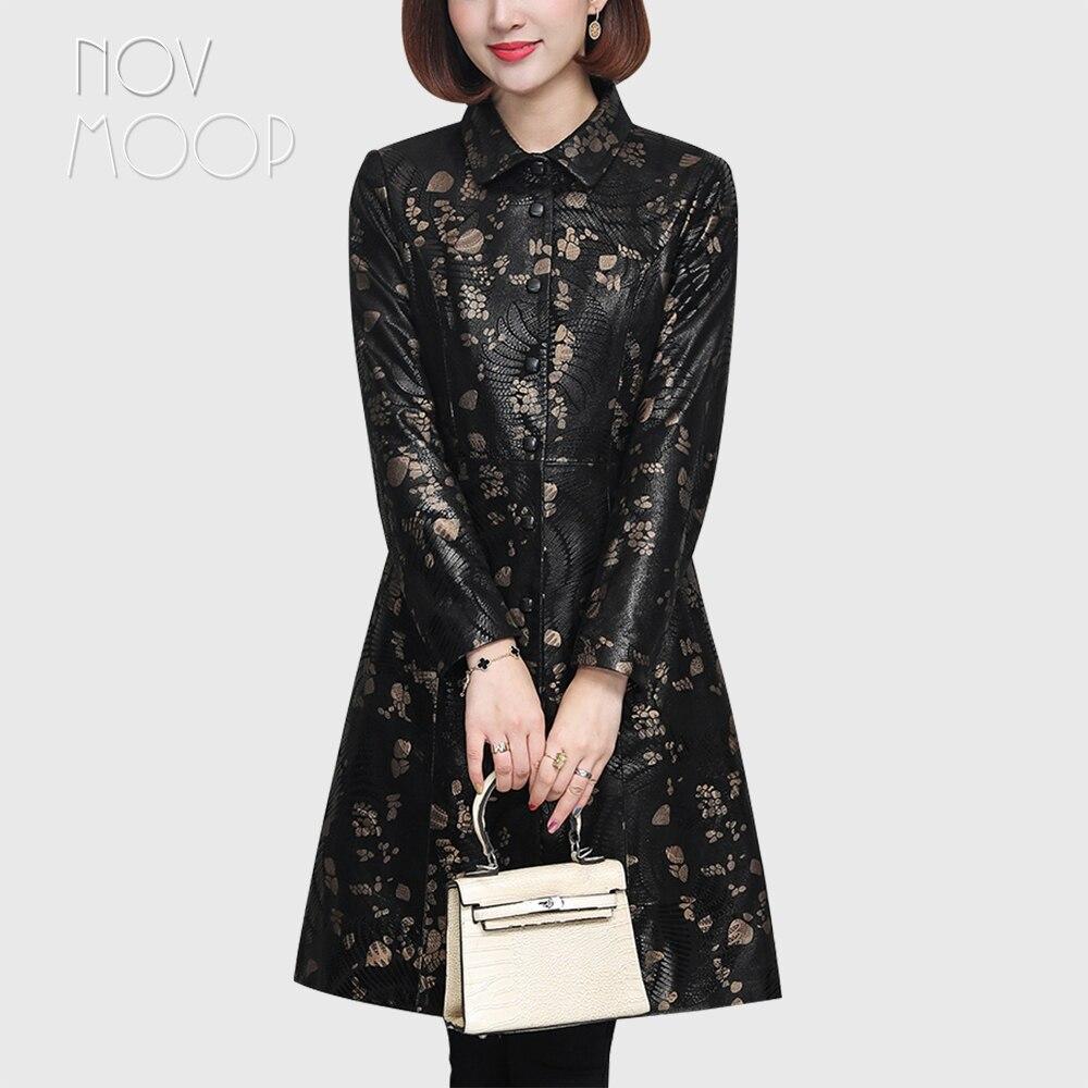 Novmoop-Abrigo de piel de oveja estampada para mujer, Abrigo formal de piel...