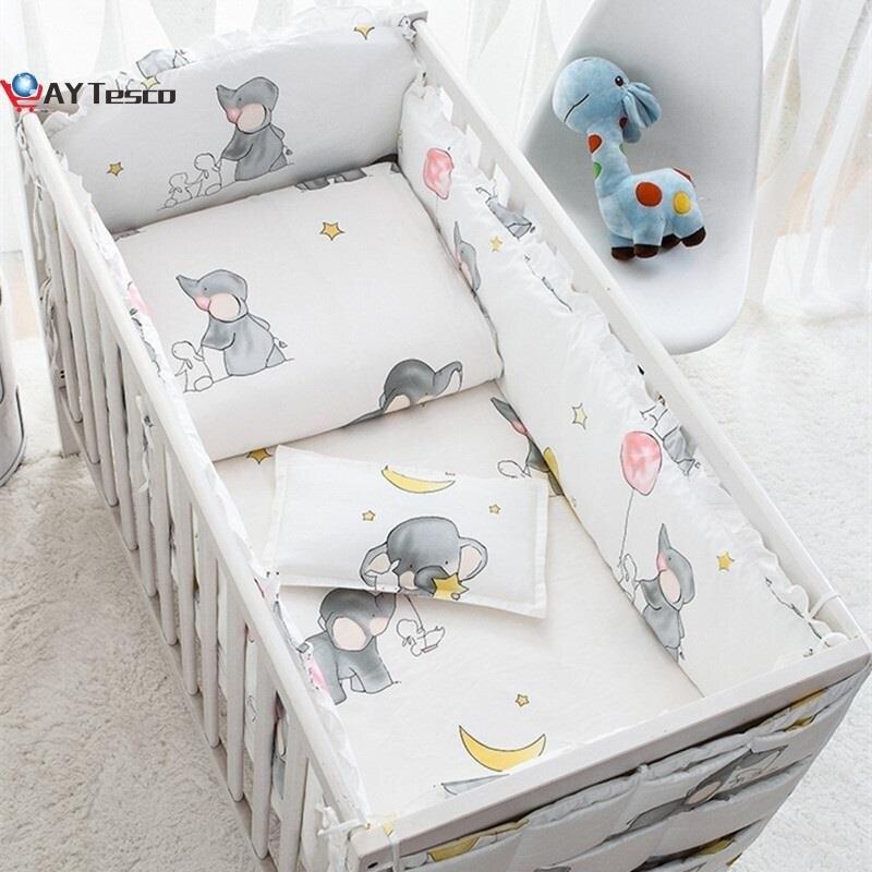 AY Tesco Elephant baby bedding set Cotton bedroom decor Baby Girl Boy Crib Bed Linens bed bumper 120*60/120*70cm