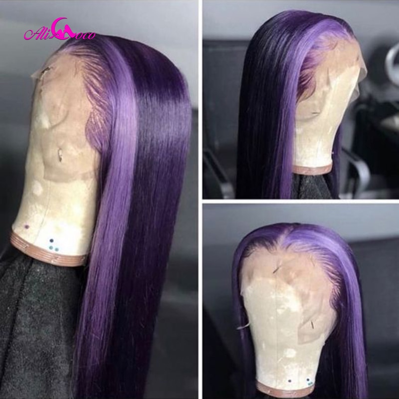 Ali Coco Blonde Berry Colored Human Hair Lace Front Wigs Pre Plucked Purple Highlights Wig Colored Human Hair Wigs For Women