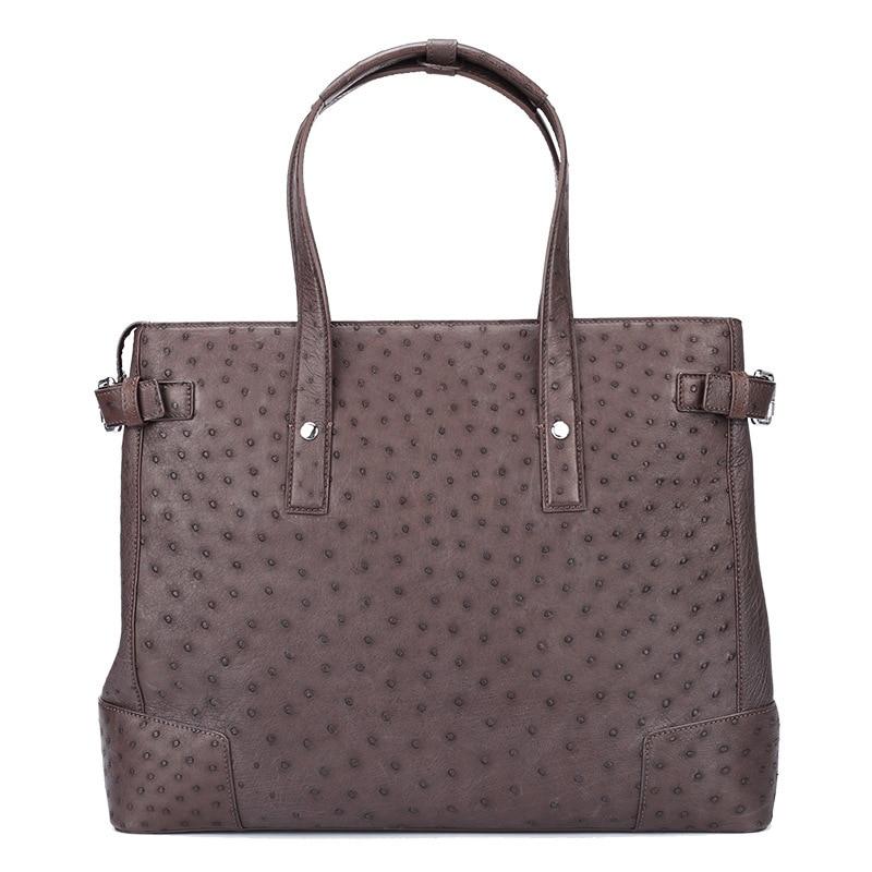 New Ostrich Leather Briefcases Laptop Men's Computer Shoulder Messenger Bag Men Business Leisure Luxury Handbags Office Bags