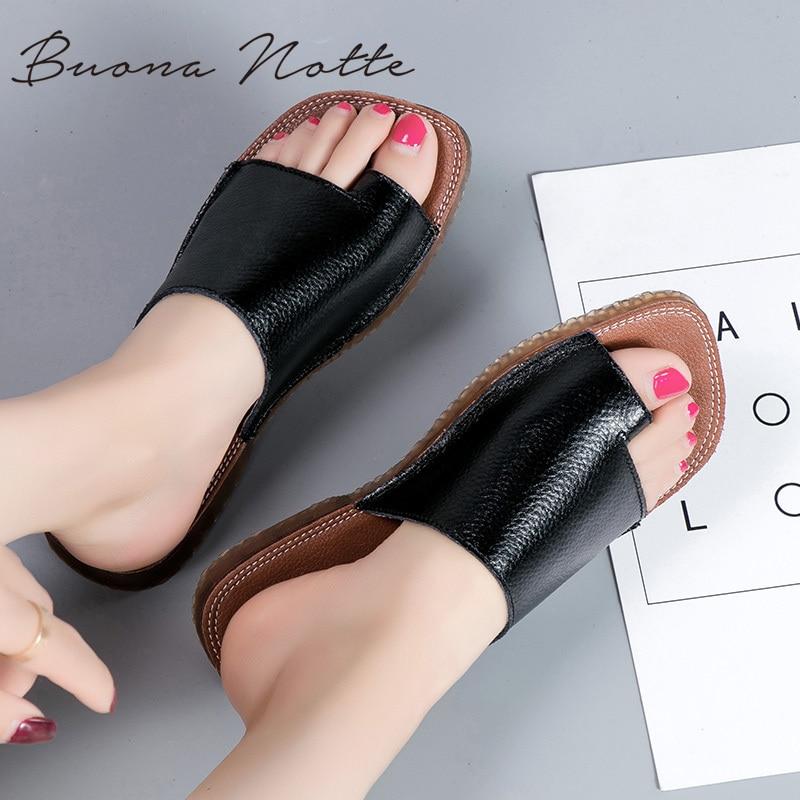 Sandalias de verano de cuero genuino, pantuflas para mujer, sandalias de corrección de pies, Corrector ortopédico de juanete