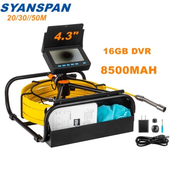 Pipe Inspection Camera with DVR 16GB FT Card,SYANSPAN Sewer Drain Industrial Endoscope IP68 8500MHA Battery 10/20/30/50M