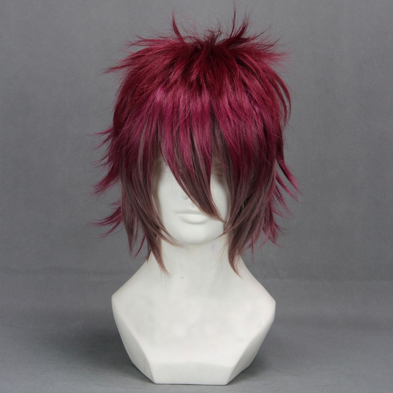 Amantes diabolik sakamaki ayato mix vermelho escuro curto de alta temperatura fibra cabelo anime traje cosplay peruca + peruca boné