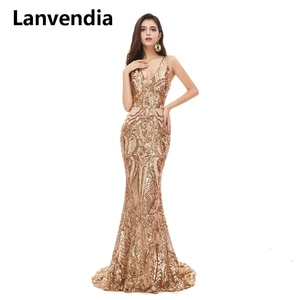 Lanvendia Champagne Mermaid Long Evening Prom Dresses 2020 Sleeveless V-neck African Black Girls Sequin Party Gowns