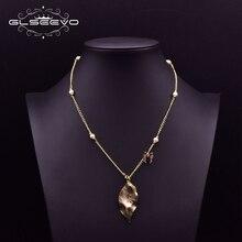 GLSEEVO, collar con colgante de hoja de mariposa de diseño Original, joyería étnica de perlas de agua dulce para chicas, joyería de compromiso para mujeres GN0204