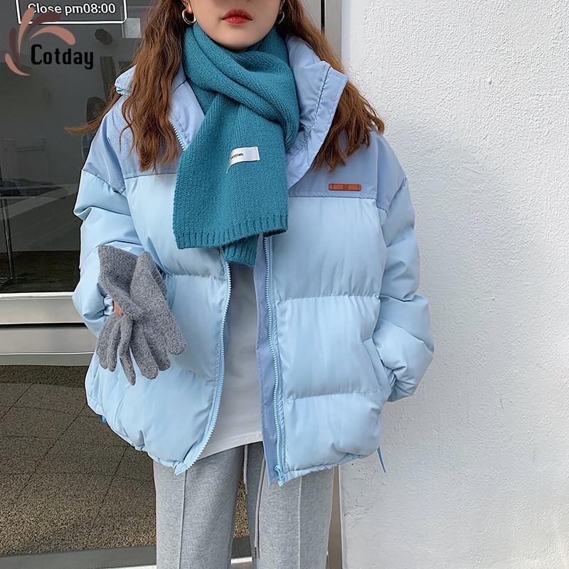 Cotday-معطف نسائي مبطن بالقطن الأزرق ، ملابس غير رسمية سميكة ، معطف نسائي كوري رقيق ، خريف وشتاء ، أوكرانيا