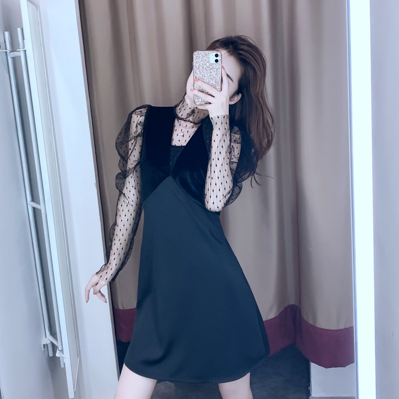 Vestido de otoño negro Hepburn viento pequeño formal atuendo falda en el nuevo espectáculo francés femenino gasa fina diseño restaurando maneras antiguas