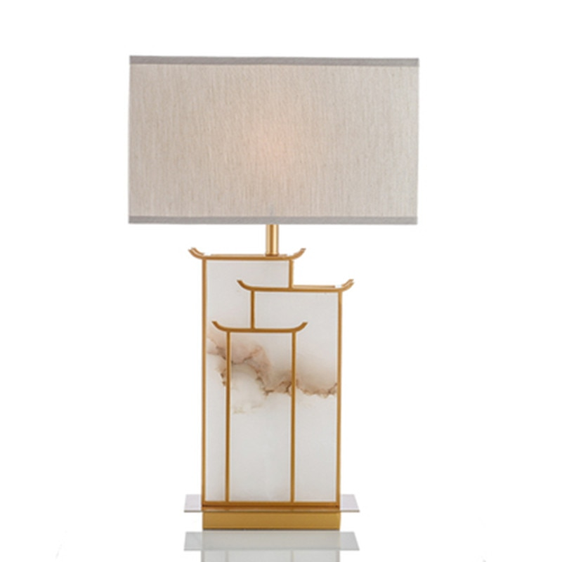 Nowoczesny złoty stół marmurowy lampy do sypialni lampki nocne lampy stołowe do salonu Home Decor LED lampy stołowe oświetlenie