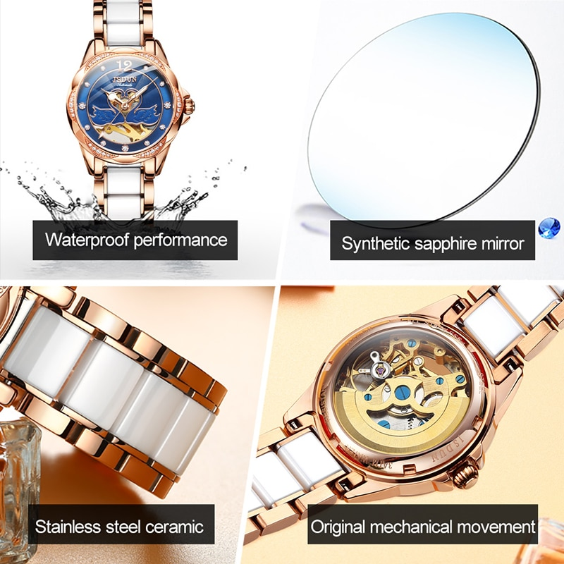 JSDUN 2019 Explosion-proof Ceramic Strap Ladies Waterproof Mechanical Watch Hollow Fashion Ladie Automatic Watches enlarge