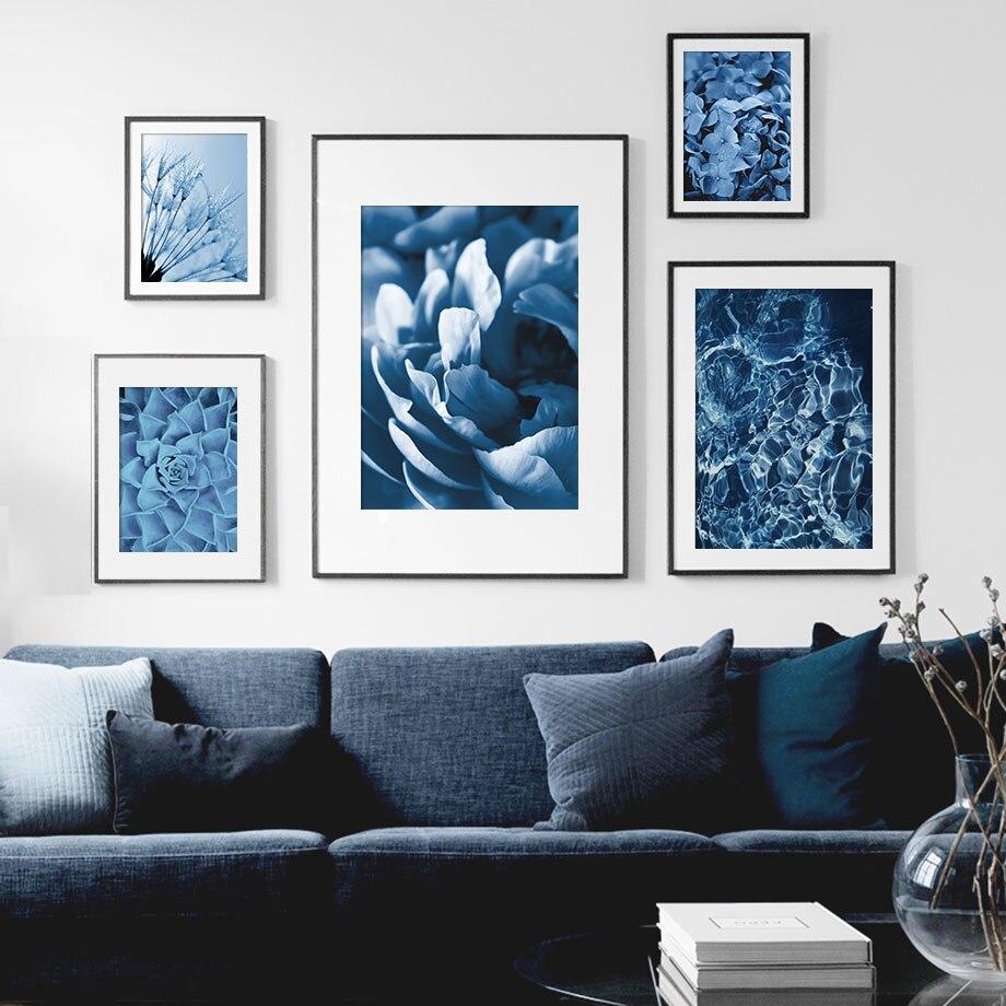 Trébol azul diente de león plantas suculentas cuadro sobre lienzo para pared carteles nórdicos e impresiones cuadros de pared para decoración para sala de estar