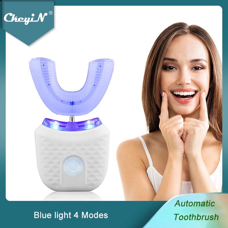 CkeyiN التلقائي فرشاة الأسنان الكهربائية U على شكل جهاز تبييض الأسنان الزرقاء اللاسلكية القابلة لإعادة الشحن فرشاة أسنان سونيك مقاوم للماء 51