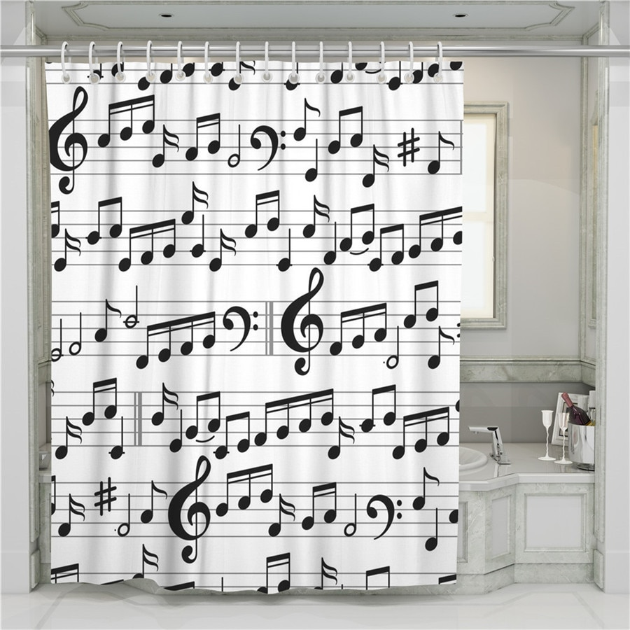 A Musical Notes 3D Shower Curtain Bathroom Waterproof Polyester Printing Curtains for Bathroom Shower Hooks 3d sheer shower curtain waterproof shower curtain transparent bathing bathroom curtains for home decoration bathroom accessories