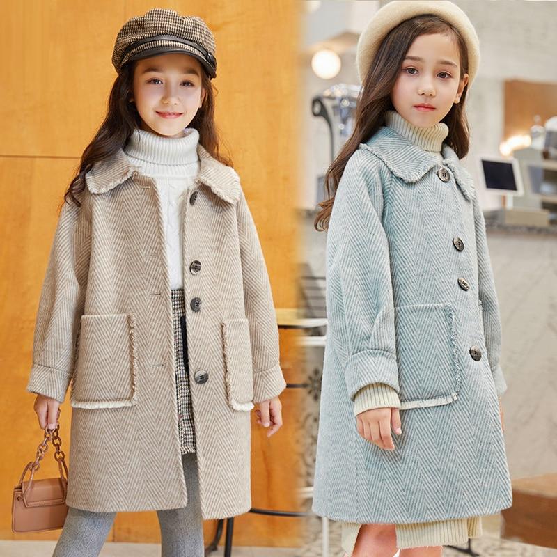 الفتيات الصغيرات طويلة سترات معطف صوف شتاء 2021 الأزرق للأطفال الفتيات ملابس الأطفال سترة وتتسابق أبلى لمدة 6 8 9 10 11 12 سنوات