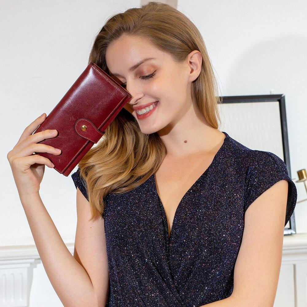 ¡Superventas! Cartera multifuncional de cuero genuino para mujer estilo Simple Cartera de mujer bolso de mano de moda