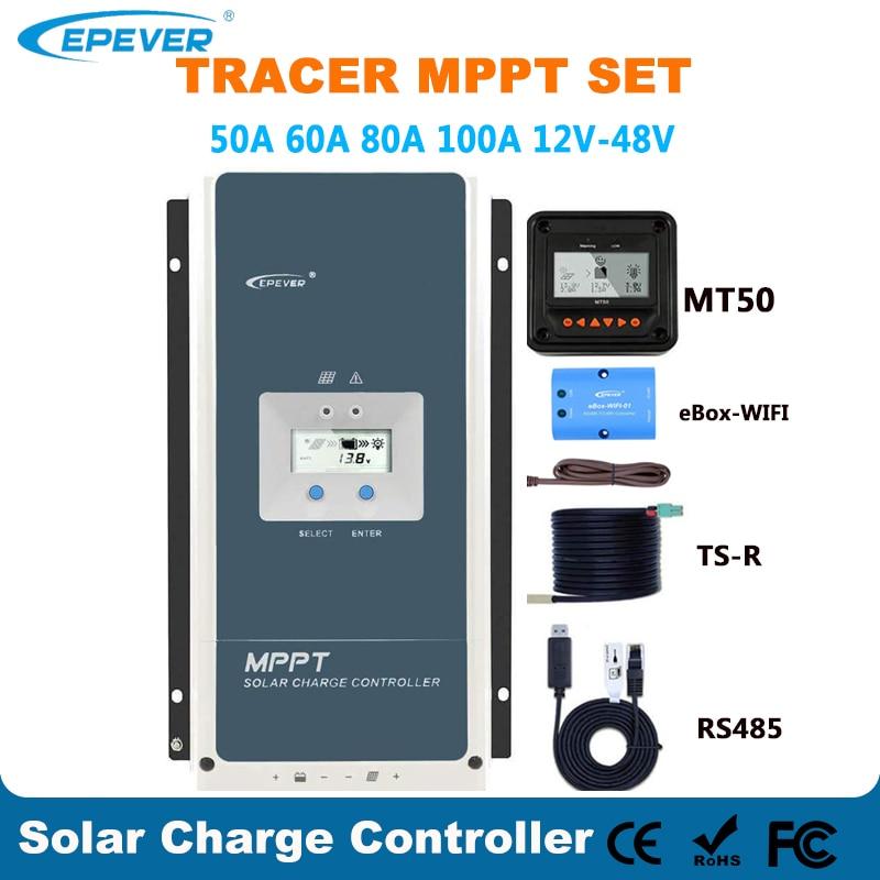 Epever 50A 60A 80A 100A MPPT الشمسية جهاز التحكم في الشحن 12 فولت 24 فولت 36 فولت 48 فولت السيارات الخلفية LCD منظم الطاقة الشمسية دعم WIFI MT50 عن بعد