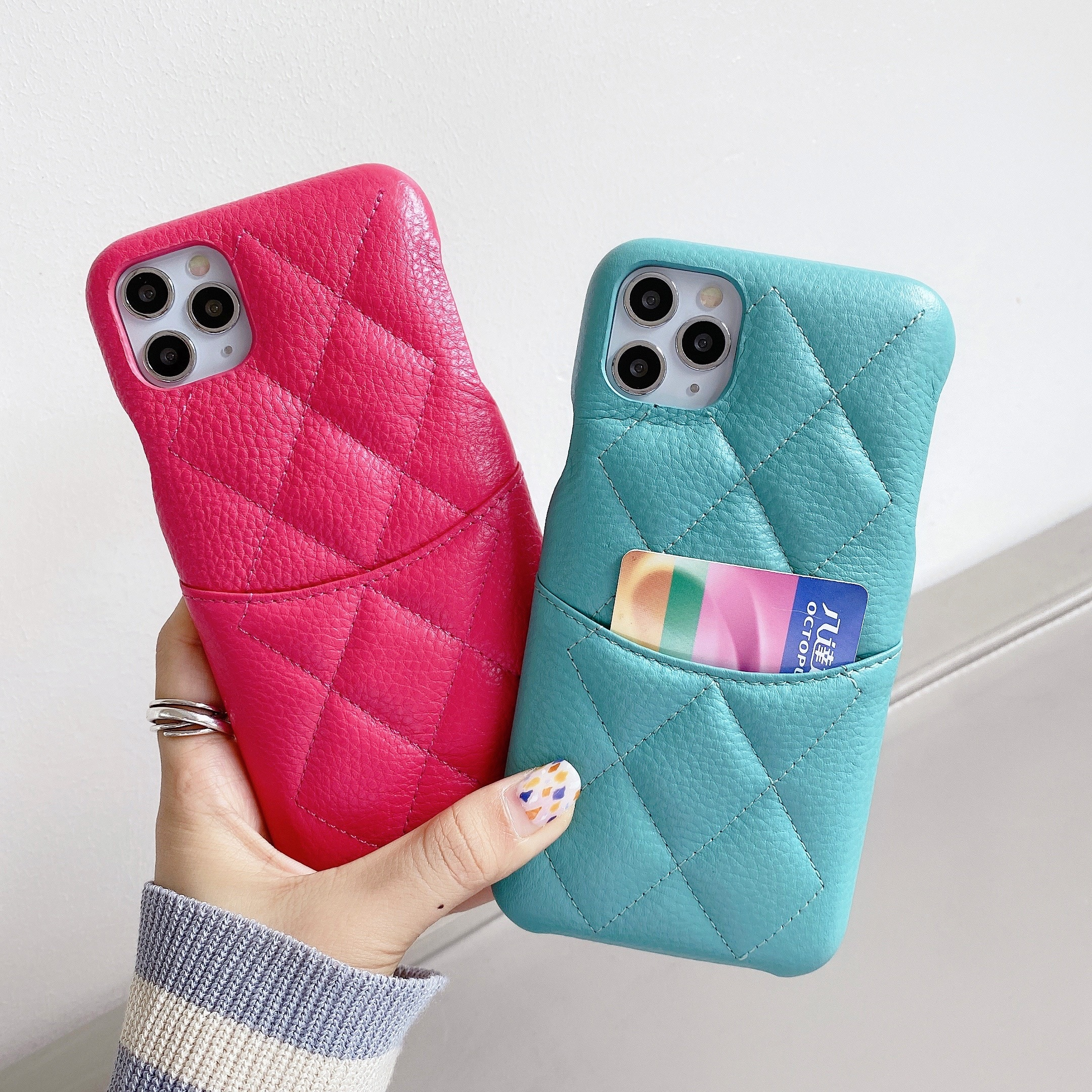 Luxury Brand Case For iPhone 12 11 Pro 7 8 Plus XR X Max Genuine Leather Card Pocket Cover Top Quali
