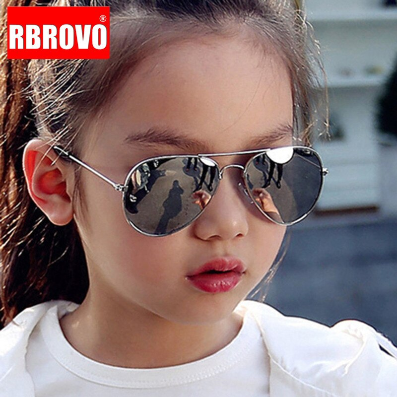 RBROVO 2021 Classic Sunglasses Girls Colorful Mirror Children Glasses Metal Frame Kids Travel Shoppi
