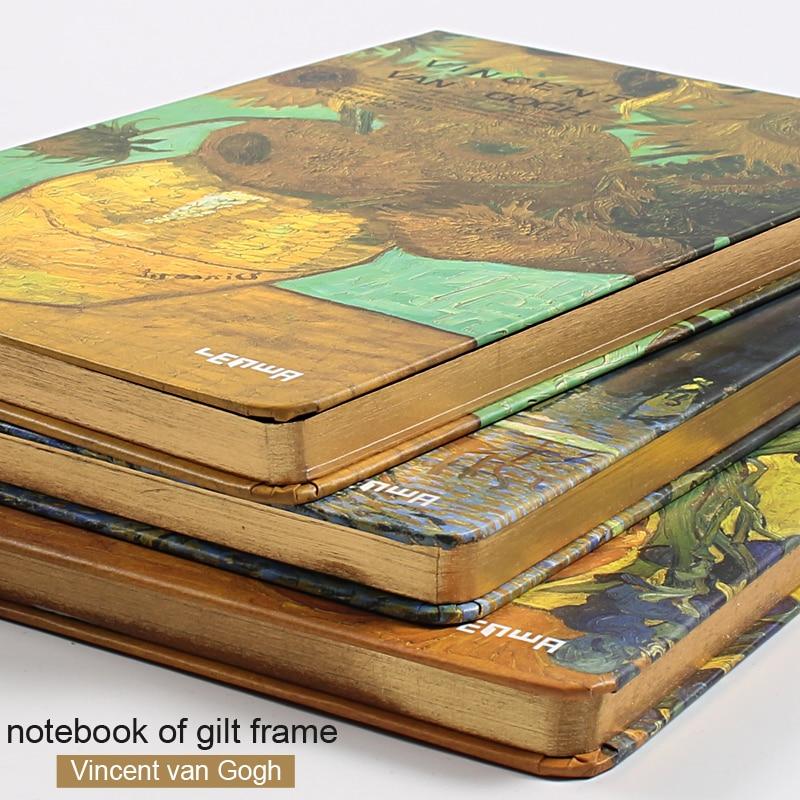 A5 Gilt Frame Van Gogh Vintage Notebook  Diary Notepad Note Book  Filofax Agenda Papelaria  School Notebooks Stationery Notatnik