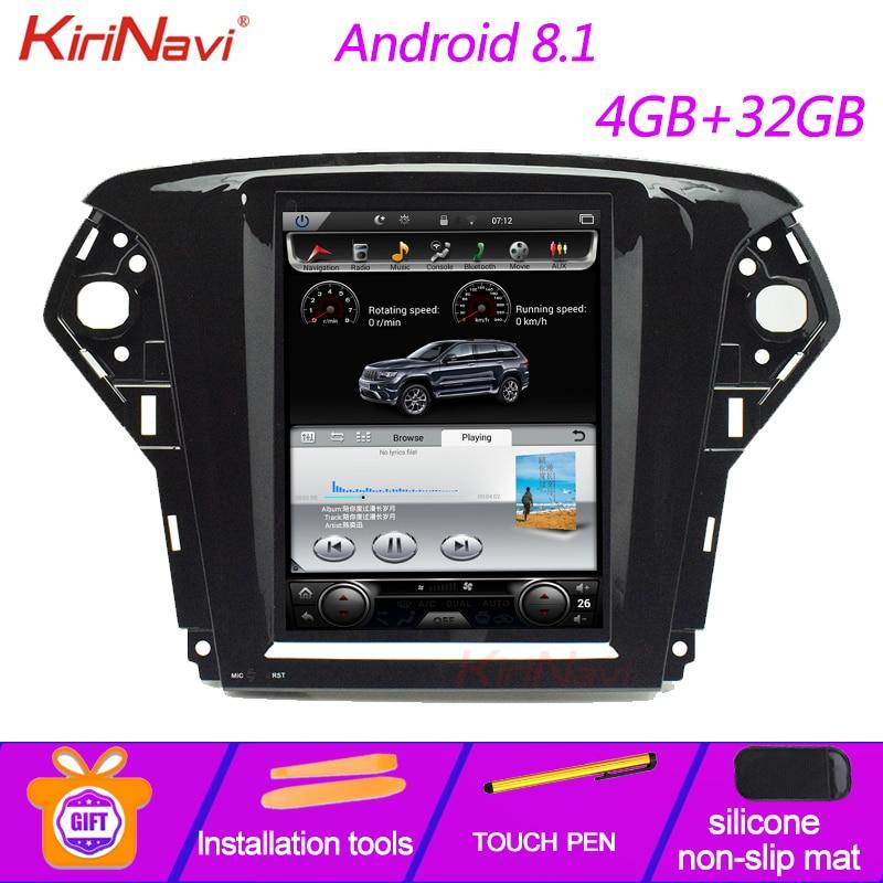 "KiriNavi de pantalla Vertical Tesla estilo 10,4 ""Android 8,1 Radio del coche para Ford Mondeo GPS navegación Audio de coche Multimedia 2007-2012"