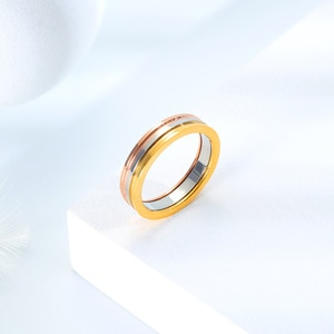 CA-187 European and American hot-selling popular stainless steel rose gold-plated rings trendy all-match ring jewelry