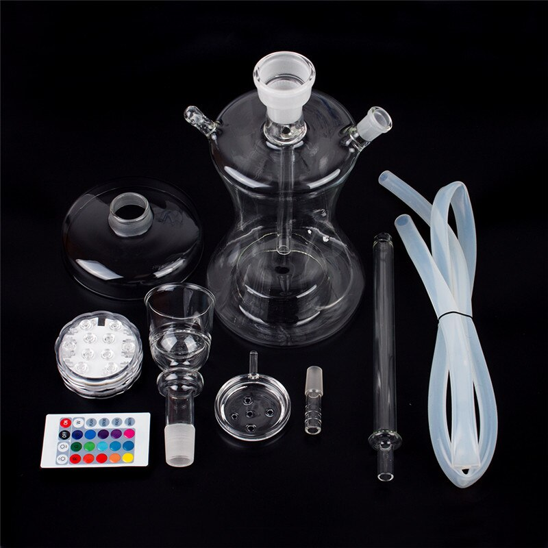 Hookah Set Glass Shisha Nargila Completo Set With LED Light Water Pipe Smoking Accessories Tobacco Sheesha Chicha Cachimba enlarge