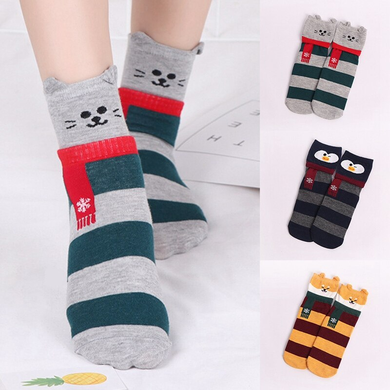Cute Design Animal Patterned Short Socks Women Cartoon Ankle Socks Female Fashion Funny Socks Cotton Hosiery Christmas
