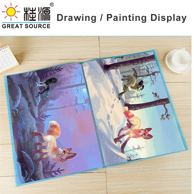 Презентационная книга 4K для рисования, 40 прозрачных карманов, ярких цветов, 573*425 мм (22,56*16,73 дюйма)(1 шт.)