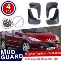 for Peugeot 307 307sw 2001~2011 Car Mud Flaps Front Rear Mudguard Splash Guards Fender Mudflaps 2005 2006 2007 2008 2009 2010