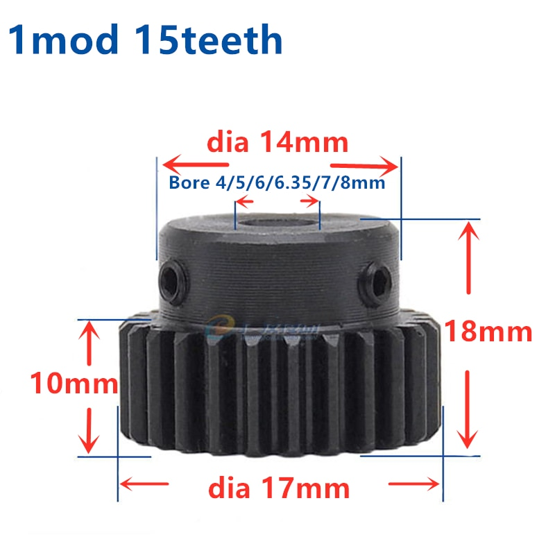 Spur gear finishing gear 1 mod 15 teeth 16 teeth 17 teeth 1M15T Bore 5-8mm motor accessory drive robot race transmission RC car