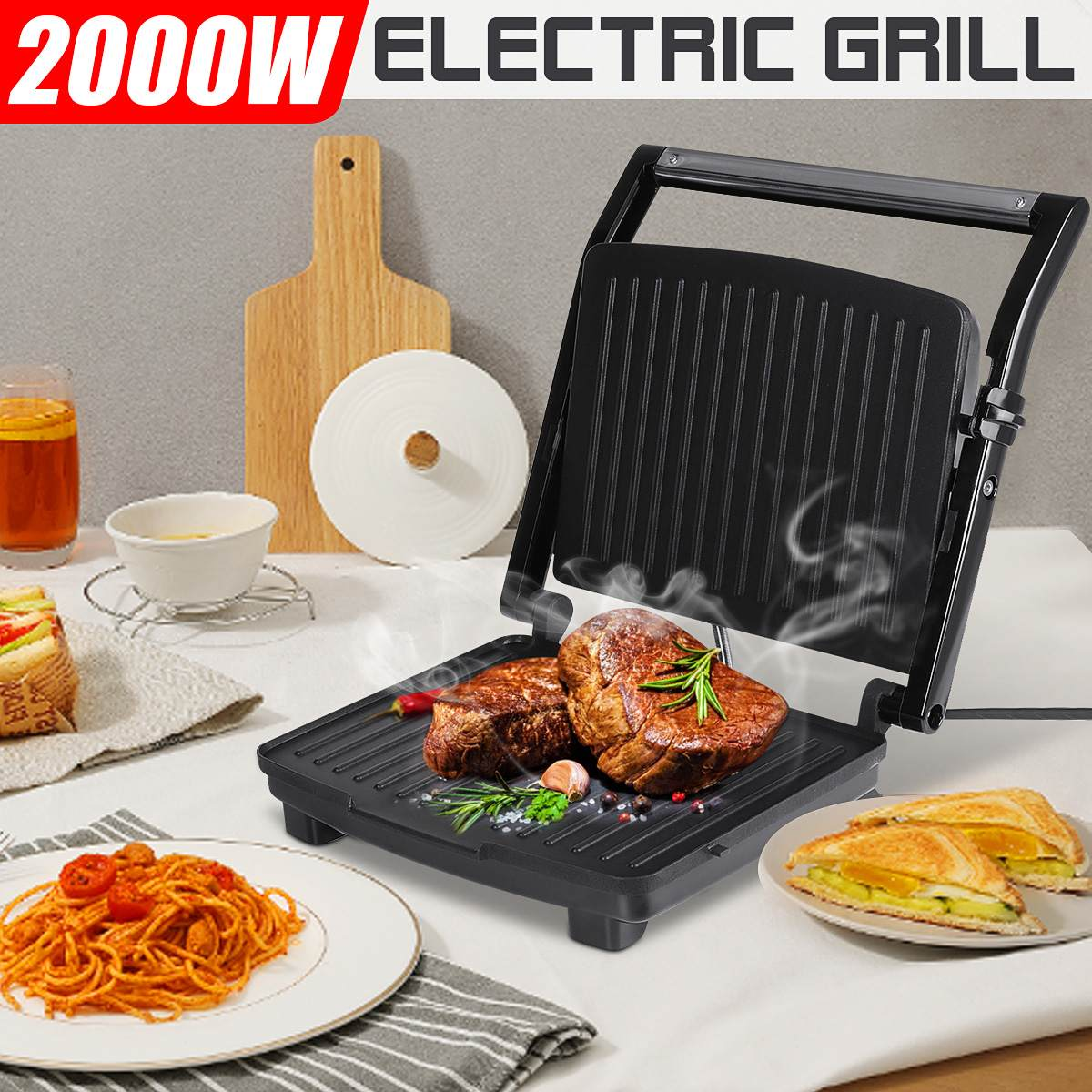 شواية 2000 وات شواية كهربائية مشاوي مشاوي مطبخ آلة للشواء لوحة غير لاصقة دخاني على الوجهين صانع فطيرة خبز اللحوم