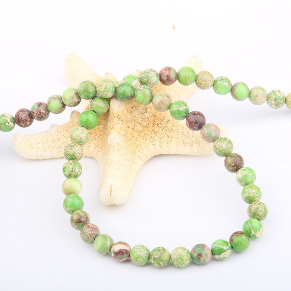Grânulos de pedra natural redondos grama verde imperador pedra para fazer jóias beadwork diy pulseira colar 4/6/8/10/12mm