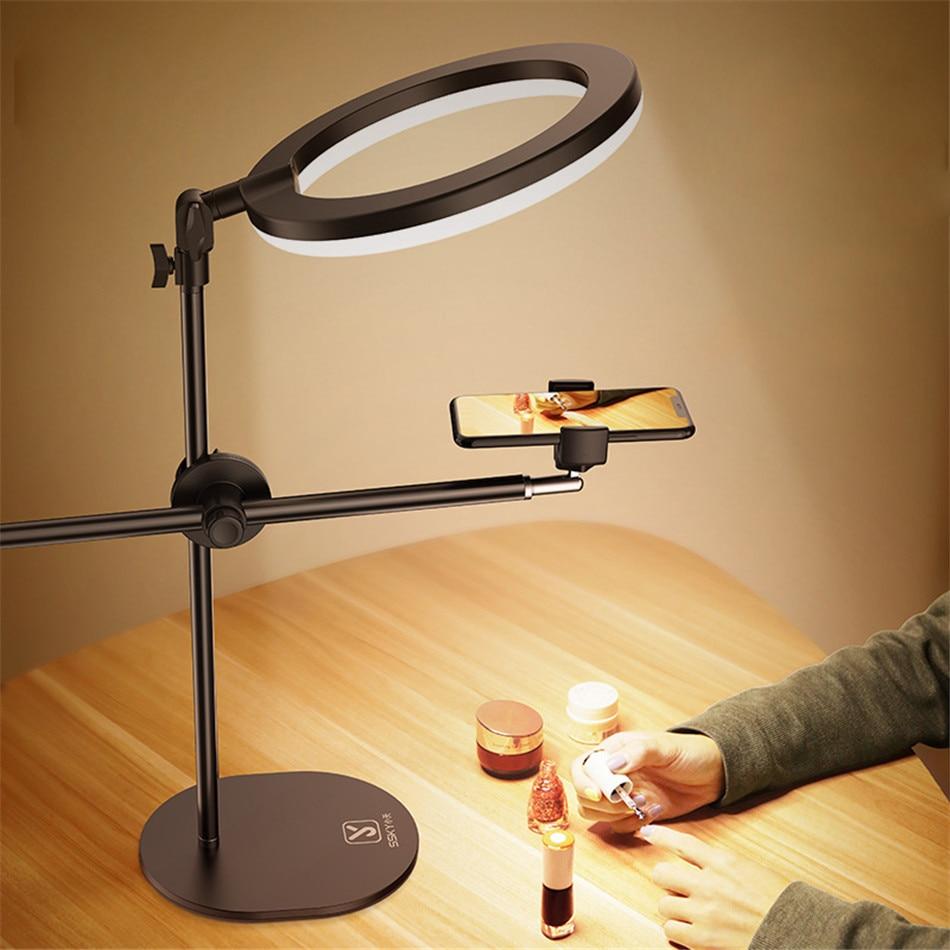 حامل حامل أحادي مع حلقة إضاءة فلاش LED ، حامل سطح الطاولة ، حامل هاتف خلوي ، لقطة علوية لفن الأظافر