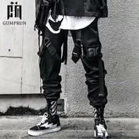 2020 joggers cargo pants for men casual hip hop hit color pocket male trousers sweatpants streetwear ribbons techwear pants