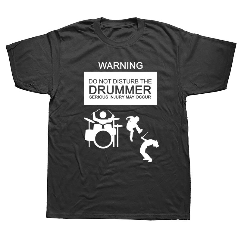 Novedosa Camiseta de manga corta de algodón con cuello redondo de manga corta para hombre, camiseta de baterista divertida de S-3XL