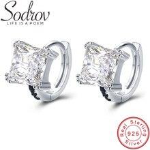 SODROV Vintage 5.12g 925 Sterling Silver Square Hoop Earrings for Women Fine Jewelry Boucle d'oreille Bijoux T200