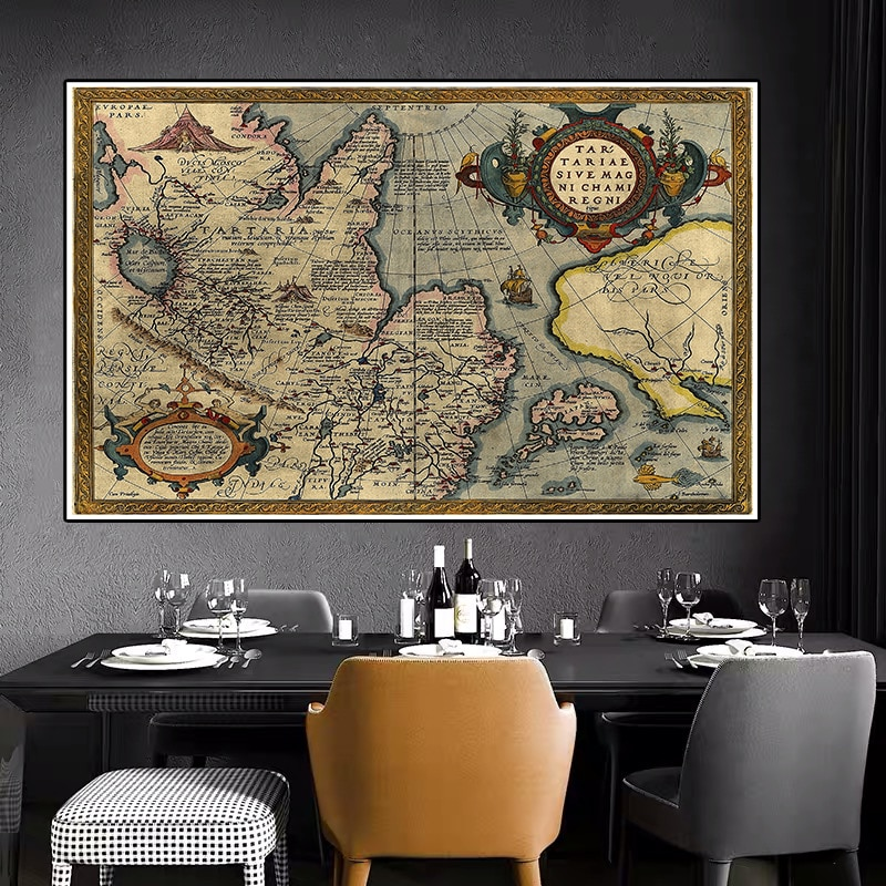 225*150 cm  The Vintage World Map Non-woven Canvas Painting Retro Wall Art Poster Decorative Card Living Room Home Decoration