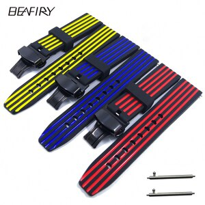 BEAFIRY New 20mm 22mm 24mm Soft Silicone Watch Band Strap Waterproof Watchband black blue black red black yellow for men women