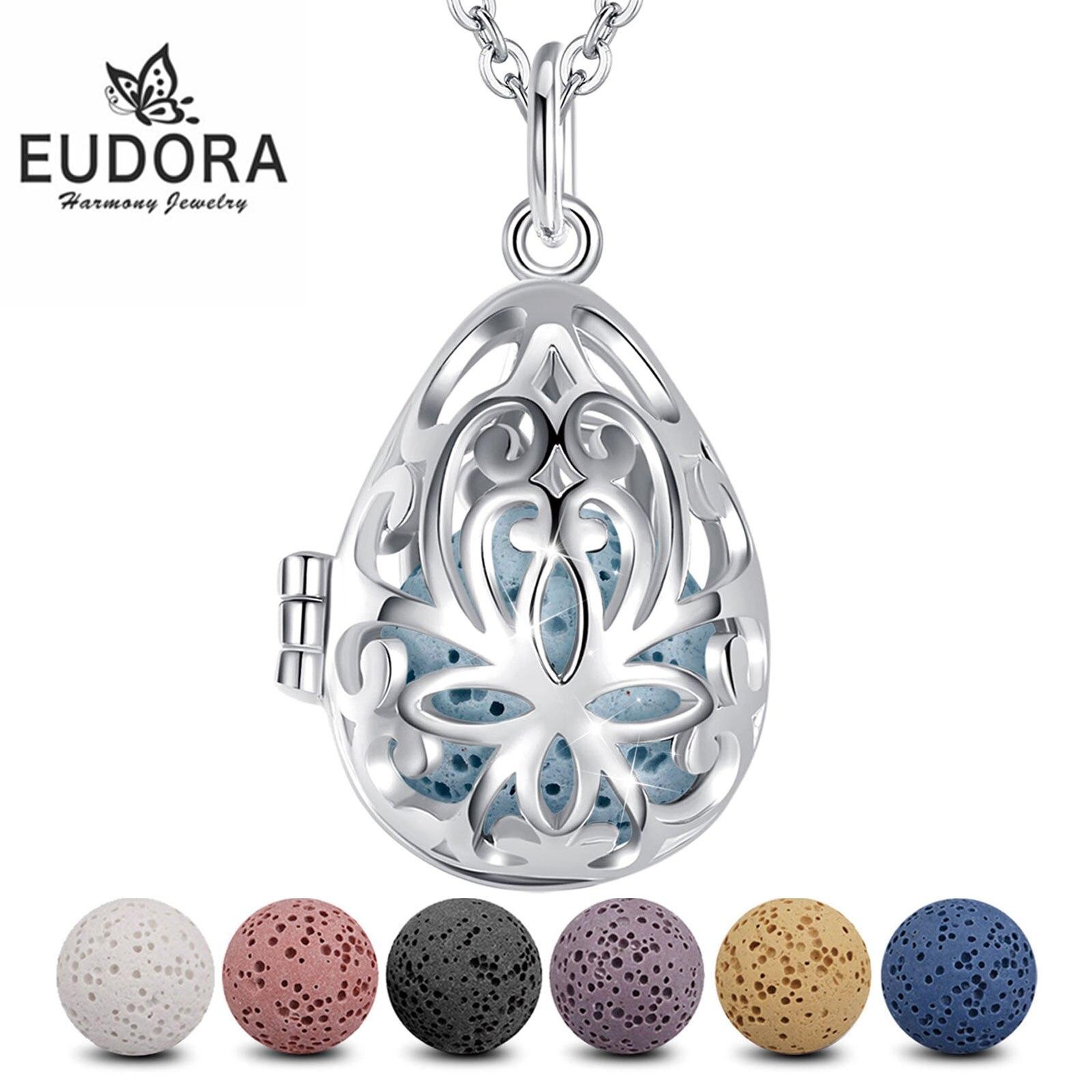 Eudora 12 mm fllower perfume difusor medalhão pingente lava colar caber bola de lava vulcânica para mulher jóias presente aniversário k49