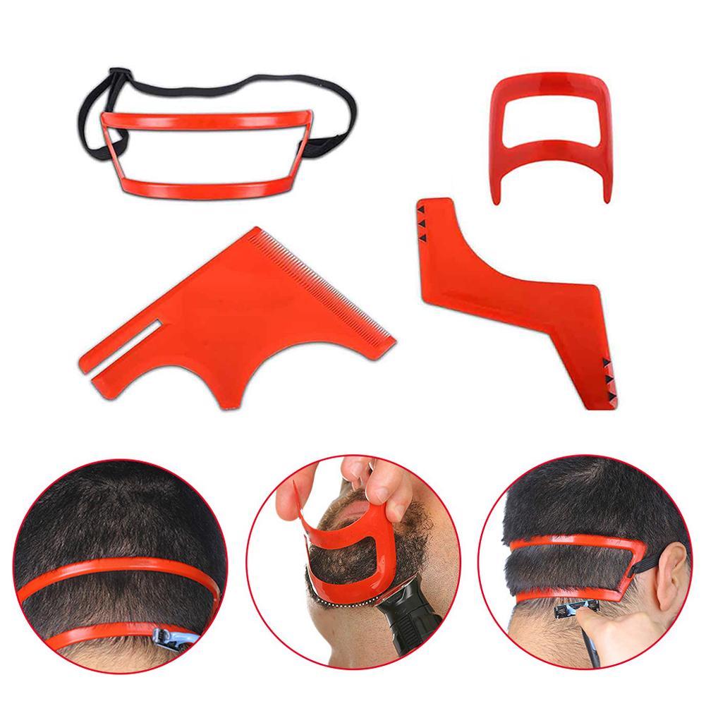 Kits de herramientas para modelado de estilo barba 4 Uds., plantilla de afeitar para cabello, Goatee y escote, cuello recto, accesorios de estilismo para Barba para hombre