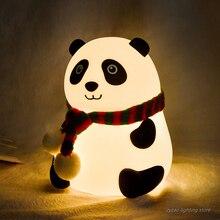 Panda Cartoon belle LED veilleuse capteur tactile coloré Silicone alimenté par batterie lampe de nuit enfants enfant chambre lampe de chevet