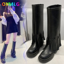 Autumn and winter new style trousers tube boots sleeve tassel boots square toe flat high boots long
