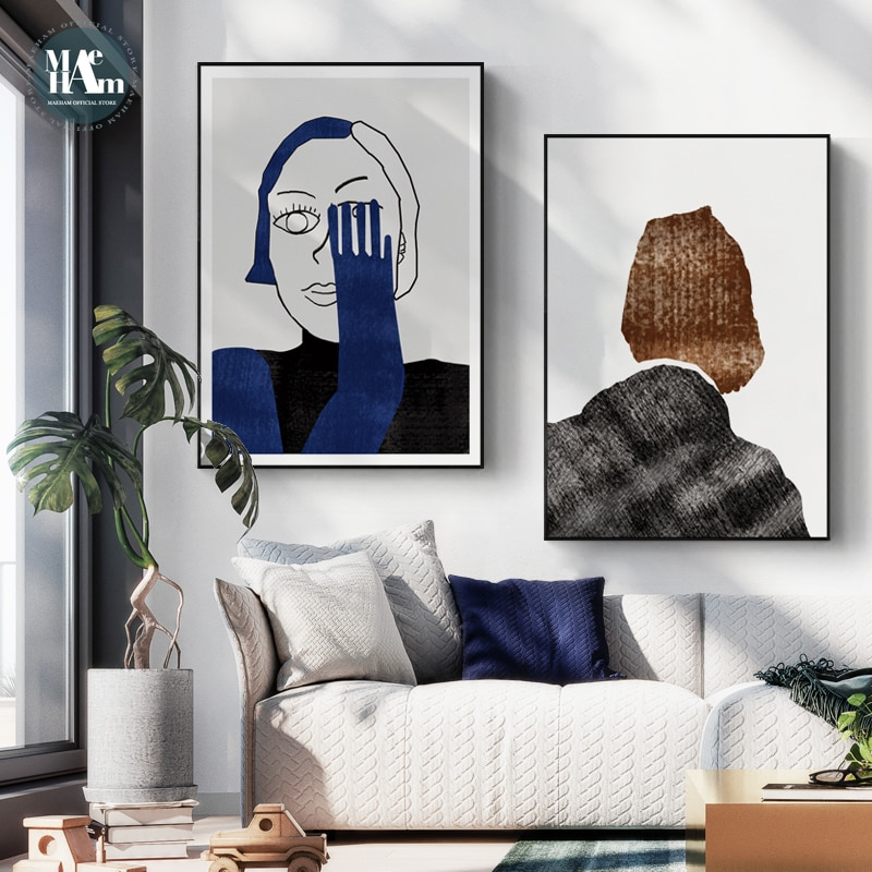 Figuras abstractas azules cuadro sobre lienzo para pared Líneas geométricas impresión cartel pared imagen para sala de estar decoración Nórdica