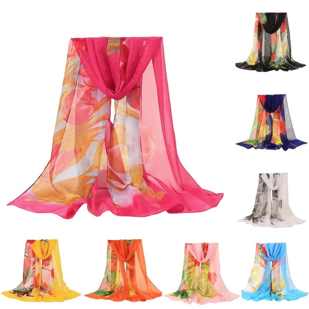 Fashion Women Flower Printing Long Soft Wrap Scarf Shawl Scarves