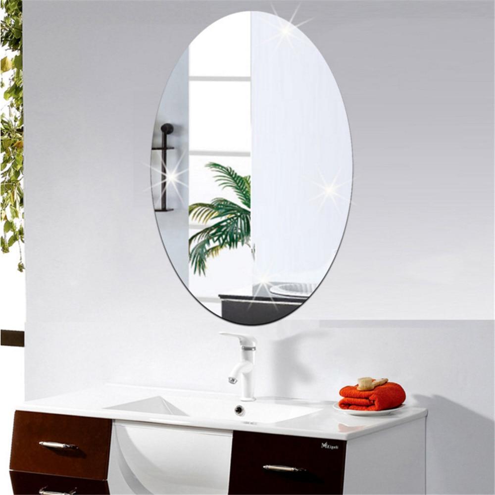 Pegatinas de pared de espejo ovales rectangulares simples, accesorios decorativos para el hogar, pegatinas de acrílico para ventana DIY, películas de vidrio 27x20cm